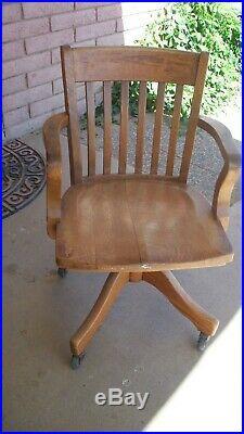 Vintage Antique U. S. US Maritime 1066 oak swivel rocking chair military navy