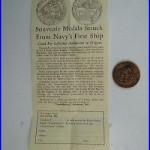 Vintage Copper Medal Medallion Commemorative Coin Frigate Constellation US Navy