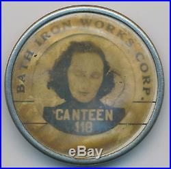Vintage Employee Photo ID Badge BATH IRON WORKS CORP CANTEEN WORKER Maine