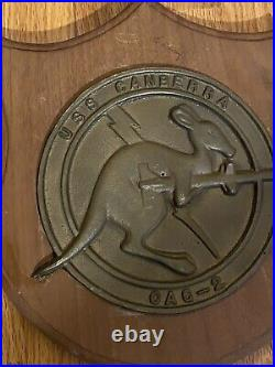 Vintage Heavy Plaque Uss Canberra Cag 2 Cruiser Nice! Look