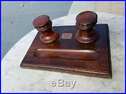 Vintage Inkwell Set Made From Teakwood From The H. M. S Collingwood WW1 Battleship
