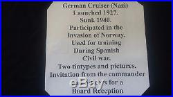 Vintage Karlsruhe German Cruiser WWII Unique Ship Photos + Invitation Rare Lot