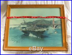 Vintage Photo Military US Navy Aircraft Carrier, Rear Admiral Signed Photograph