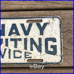 Vintage U. S. NAVY Recruiting Service Embossed Metal License Plate ARMY 12 Sign