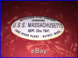 Vintage USS Massachusetts Launching Button Sept. 23 1941