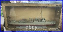 Vintage USS Preston Wooden Navy Ship Model Circa 1920s with old Wooden Glass Case