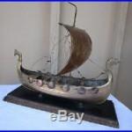 Vintage Viking War Ship Brass 17 Long Very Detailed Full Nordic Sail With Feet
