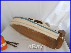 Vintage Wood Boat Model of The Helemor Nautical Decor
