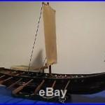 Vintage all wood model Viking ship Gokstad, very old folk art