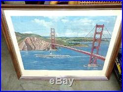 Vtg U. S. S. Hancock CVA19 Passing Under Golden Gate Bridge Military Print
