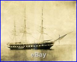 WAR OF 1812 USS CONSTITUTION OLD IRONSIDES VINTAGE PHOTO FROM 1876 ORIGINAL