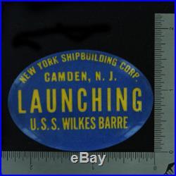 WWII Battleship Launching Souvenir 20 Pinbacks NY Shipbuilding Camden, Nj