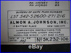 WWII JOHNSON 50hp ELECTRIC STERN ANCHOR WINCH/WINDLASS Manual USN LST SHIP vtg