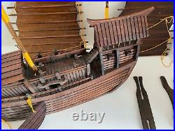 Wooden Junk Ship Model Asian 10 pcs Detailed Double Masted All Wood 17 x 15.5