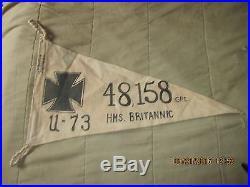Ww I Imperial German U Boat U-73 Britannic 48,158 Ton Victory Flag